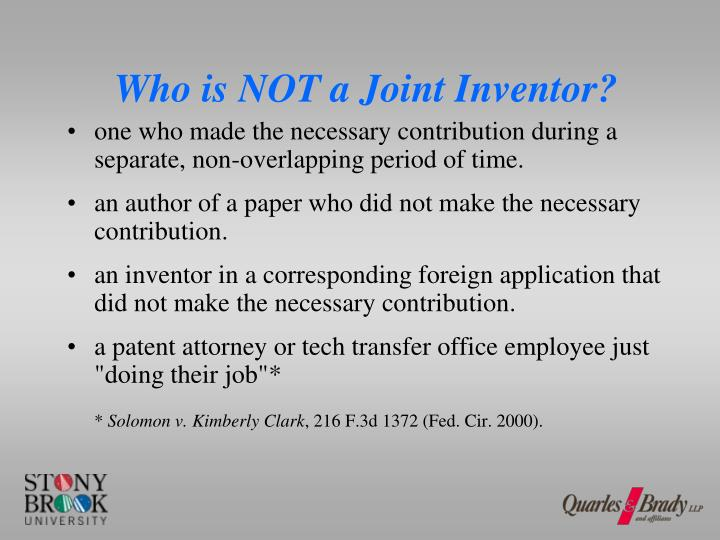 Who is NOT a Joint Inventor?