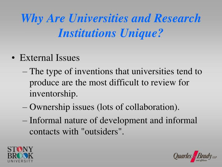 Why Are Universities and Research Institutions Unique?