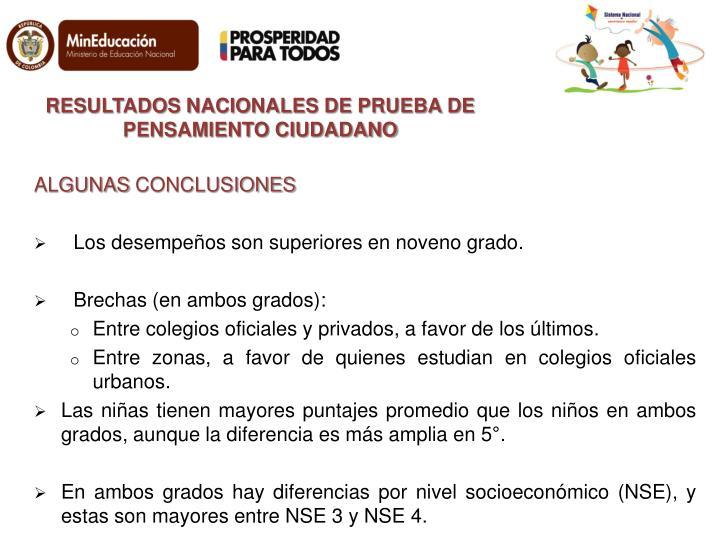 RESULTADOS NACIONALES DE PRUEBA DE PENSAMIENTO CIUDADANO