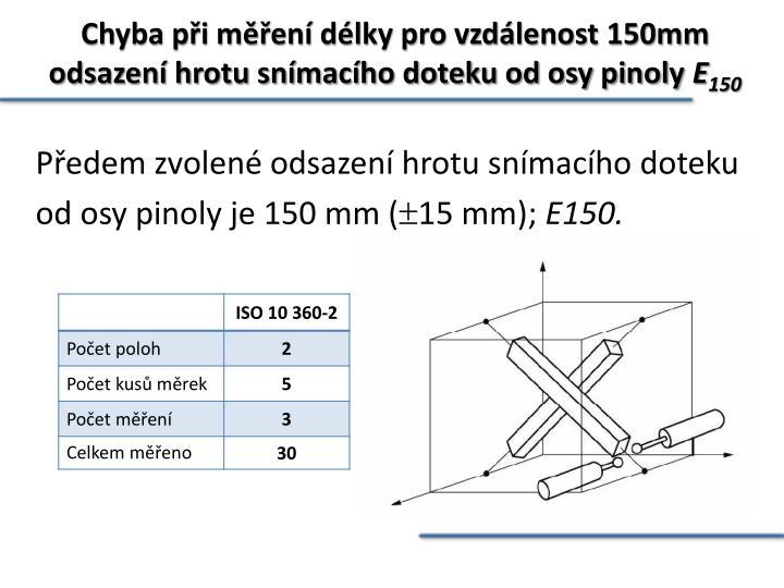 Chyba při měření délky pro vzdálenost 150mm odsazení hrotu snímacího doteku od osy pinoly