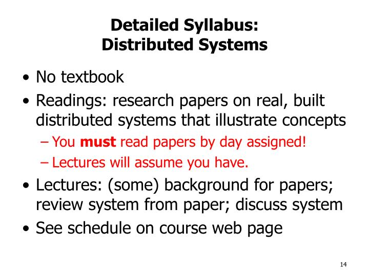Detailed Syllabus: