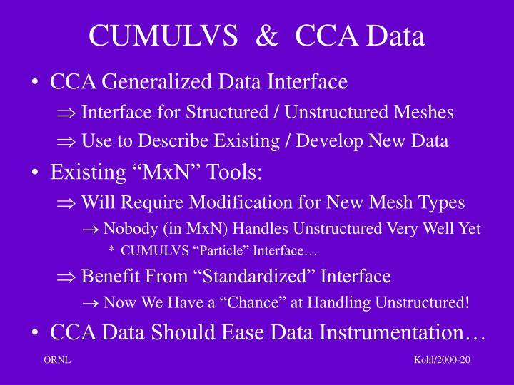 CUMULVS  &  CCA Data