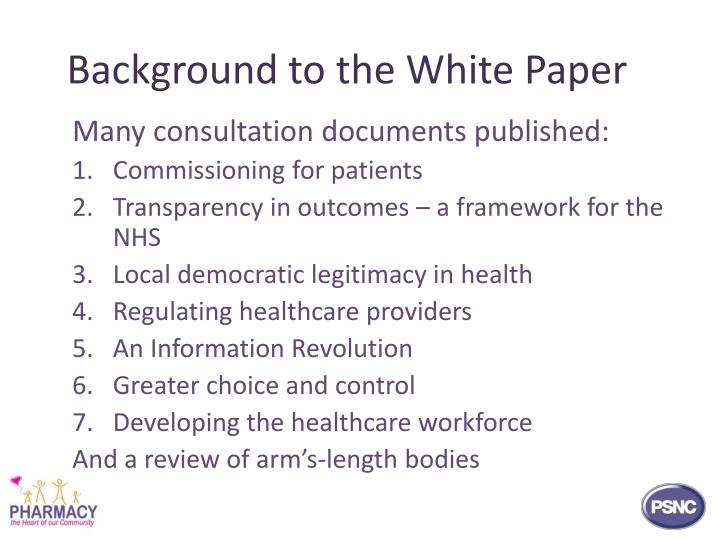 Background to the white paper