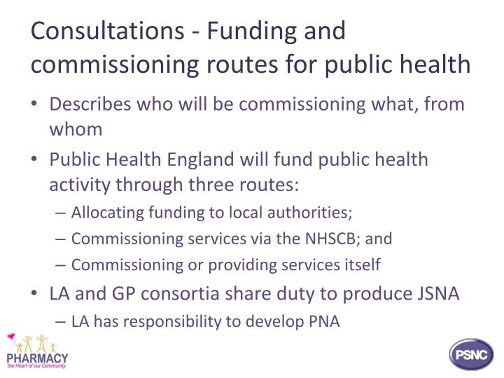 Consultations - Funding and commissioning routes for public health