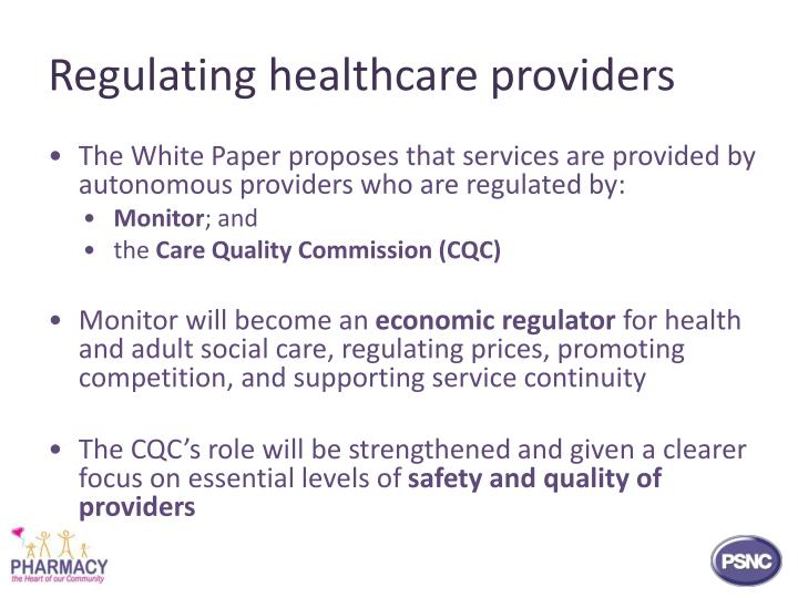 Regulating healthcare providers