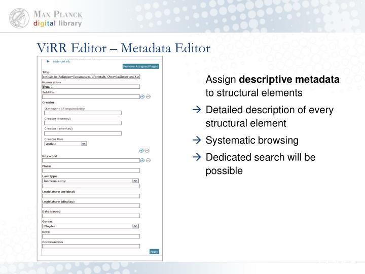 ViRR Editor – Metadata Editor