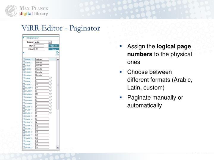ViRR Editor - Paginator