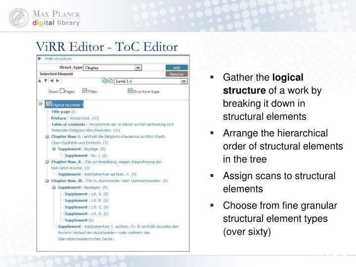 ViRR Editor - ToC Editor
