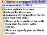 k vegetative propagation of plants is common in agriculture