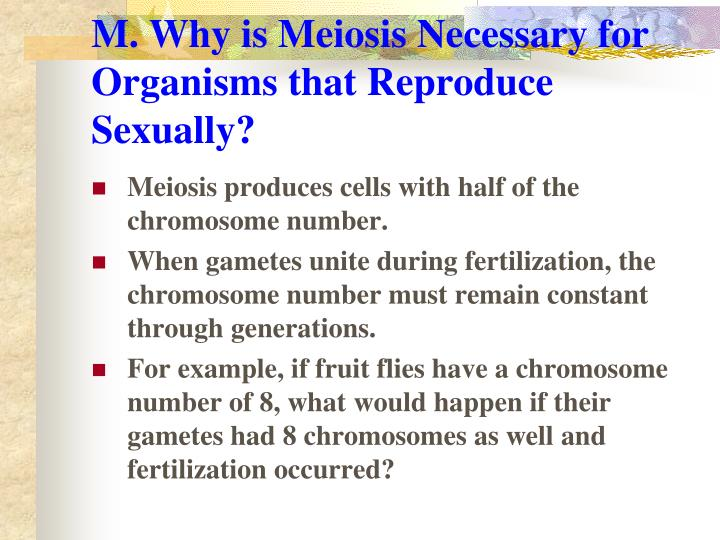 M. Why is Meiosis Necessary for Organisms that Reproduce Sexually?