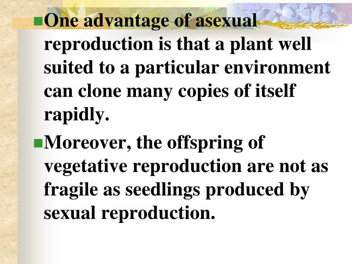 One advantage of asexual reproduction is that a plant well suited to a particular environment can clone many copies of itself rapidly.