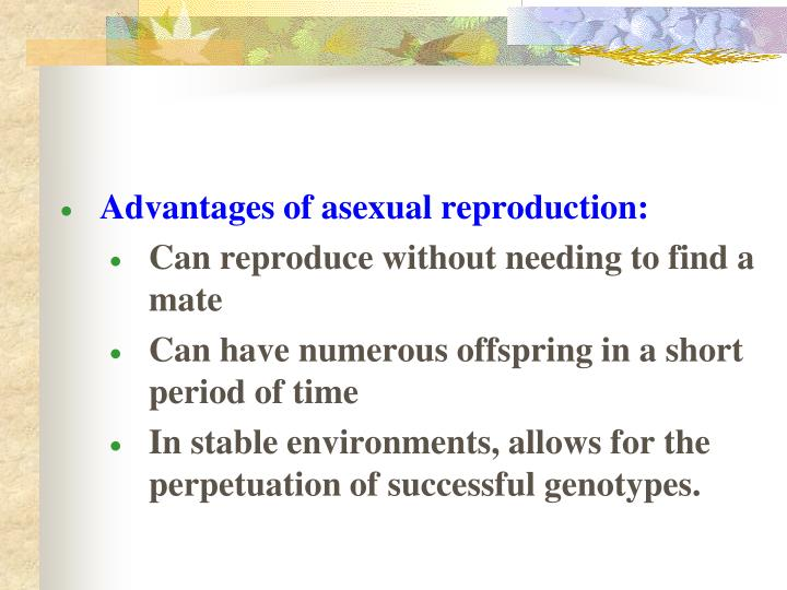 Advantages of asexual reproduction:
