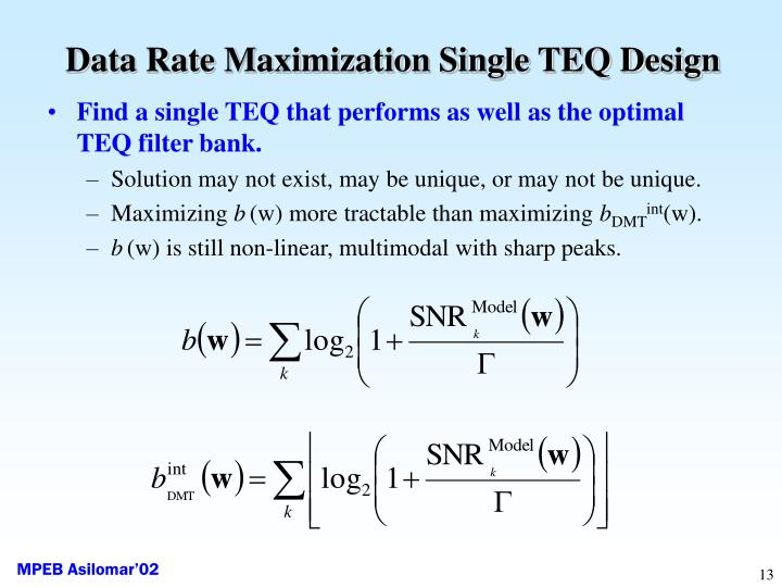 Data Rate Maximization Single TEQ Design
