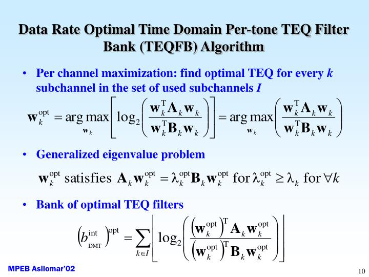Data Rate Optimal Time Domain Per-tone TEQ Filter Bank (TEQFB) Algorithm