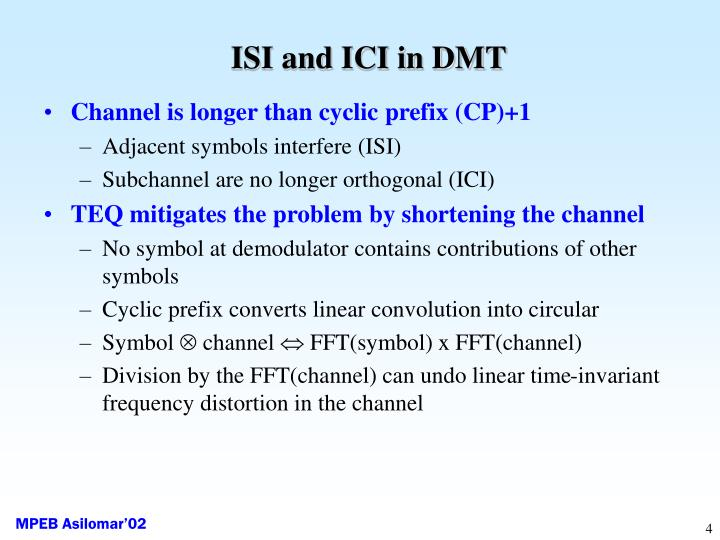 ISI and ICI in DMT