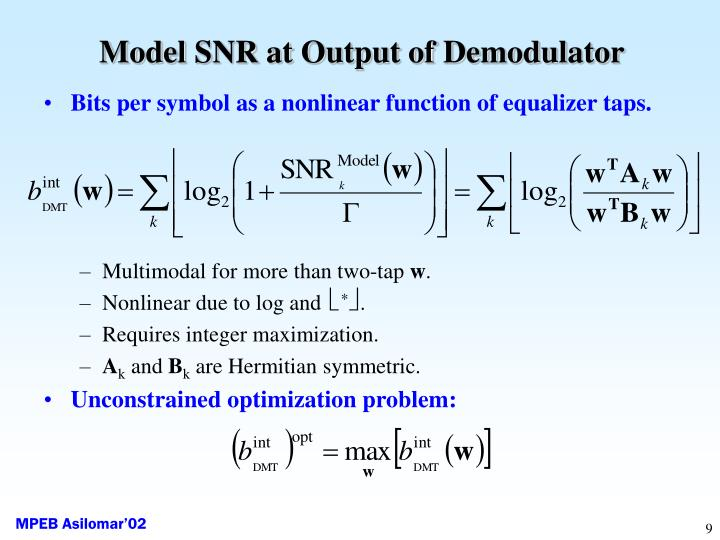 Model SNR at Output of Demodulator
