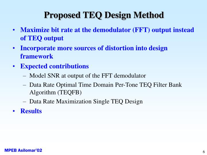 Proposed TEQ Design Method
