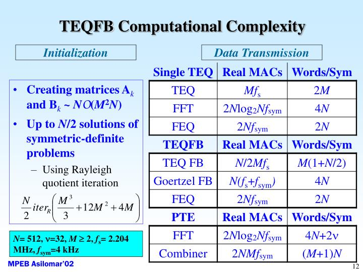 TEQFB Computational Complexity