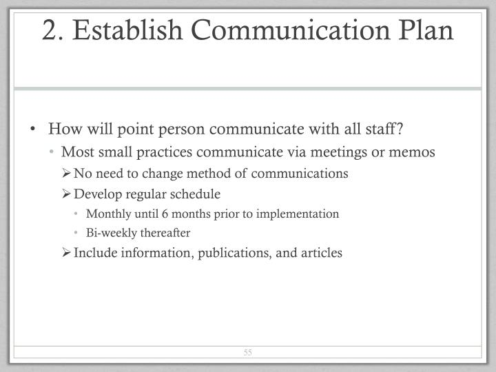 2. Establish Communication Plan