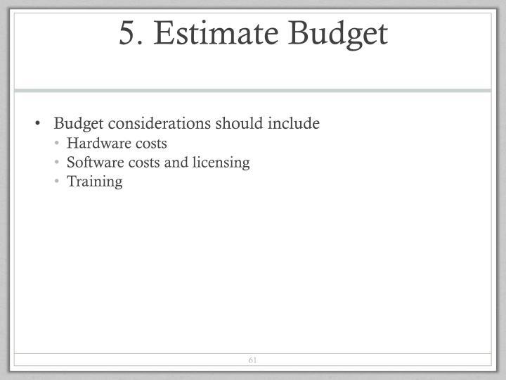 5. Estimate Budget