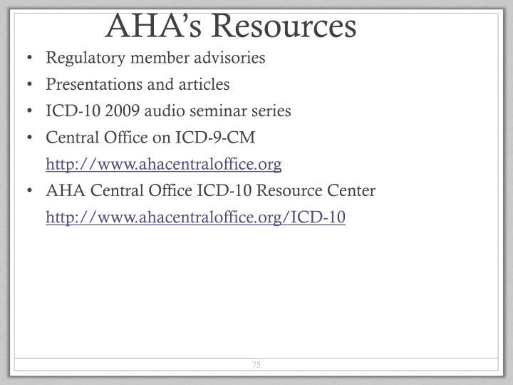 AHA's Resources