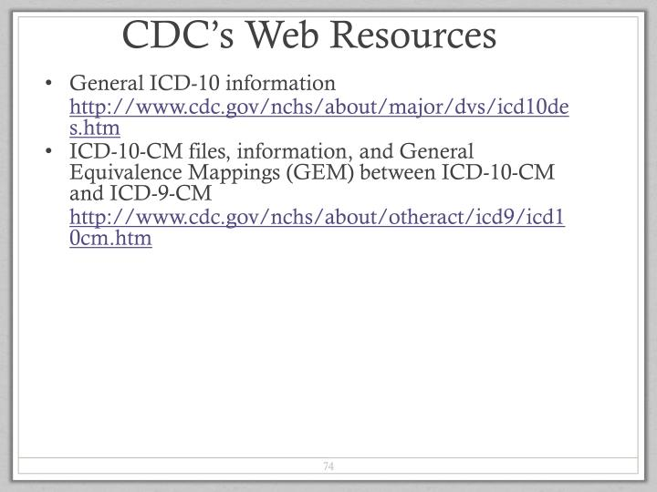 CDC's Web Resources