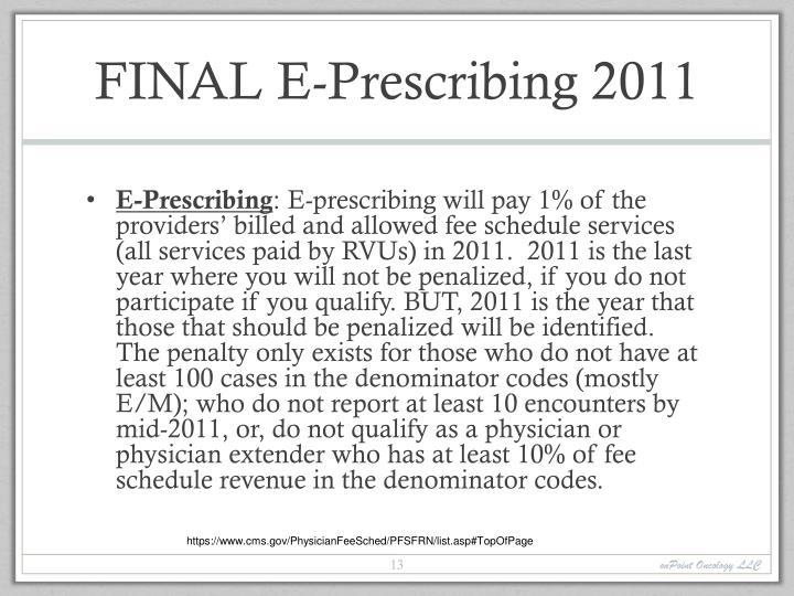 FINAL E-Prescribing 2011