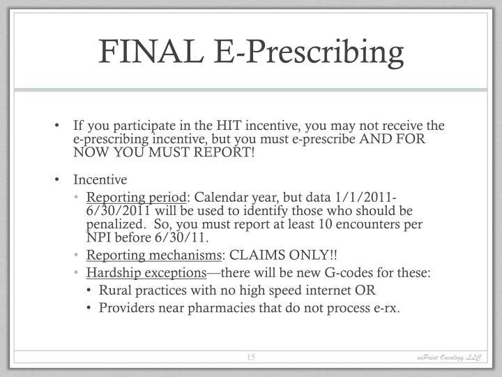 FINAL E-Prescribing