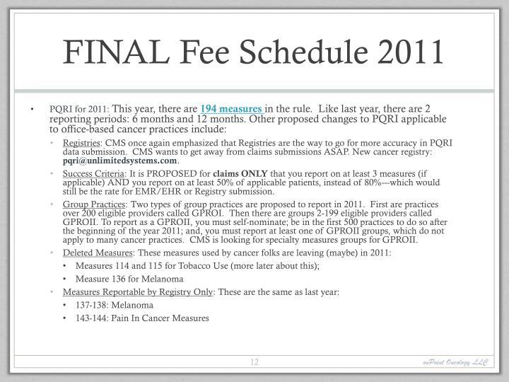 FINAL Fee Schedule 2011