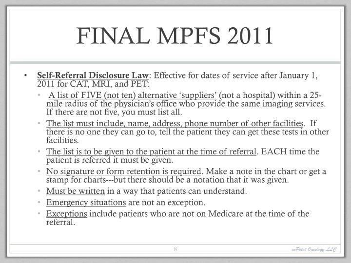 FINAL MPFS 2011