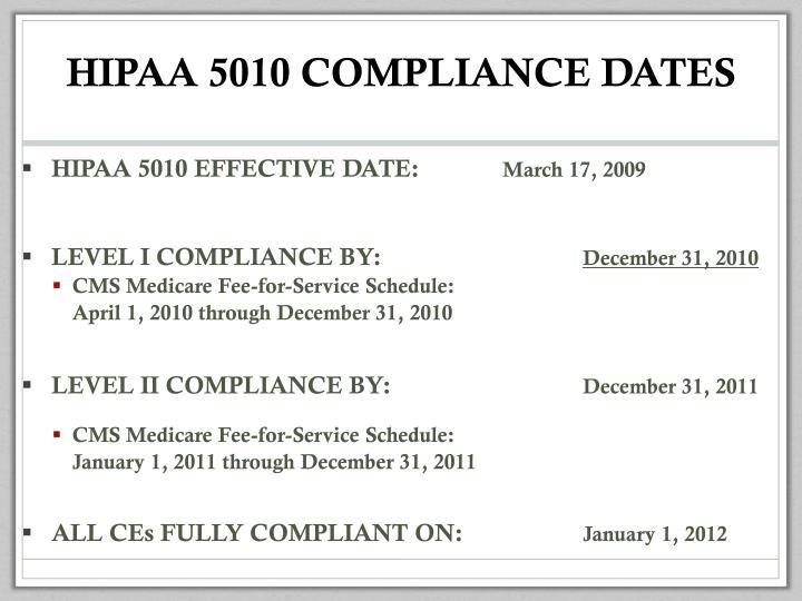 HIPAA 5010 COMPLIANCE DATES