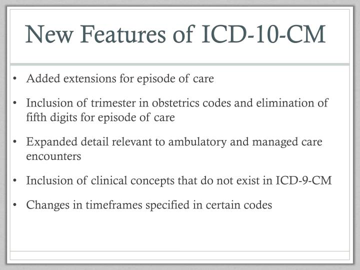 New Features of ICD-10-CM
