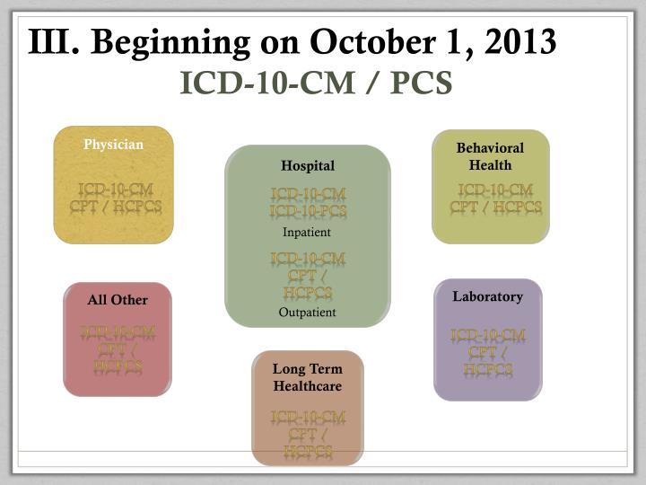 Beginning on October 1, 2013
