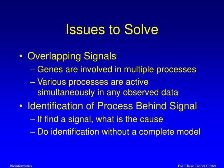 Issues to Solve