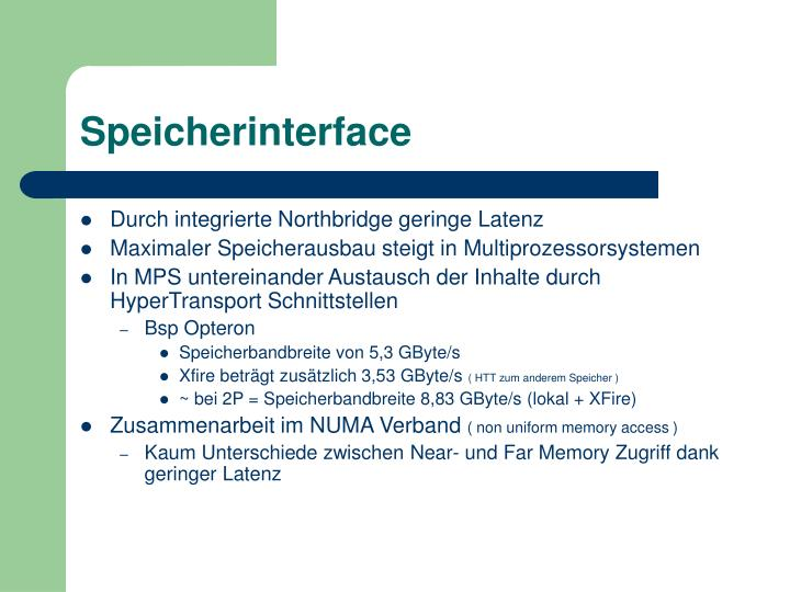 Speicherinterface