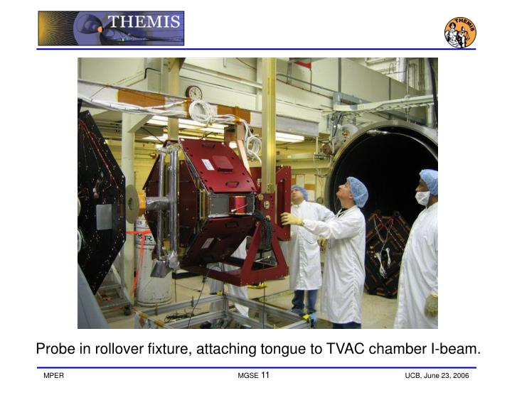 Probe in rollover fixture, attaching tongue to TVAC chamber I-beam.