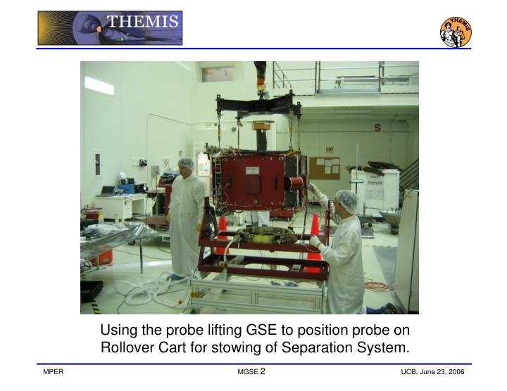 Using the probe lifting GSE to position probe on Rollover Cart for stowing of Separation System.
