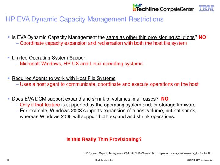 HP EVA Dynamic Capacity Management Restrictions
