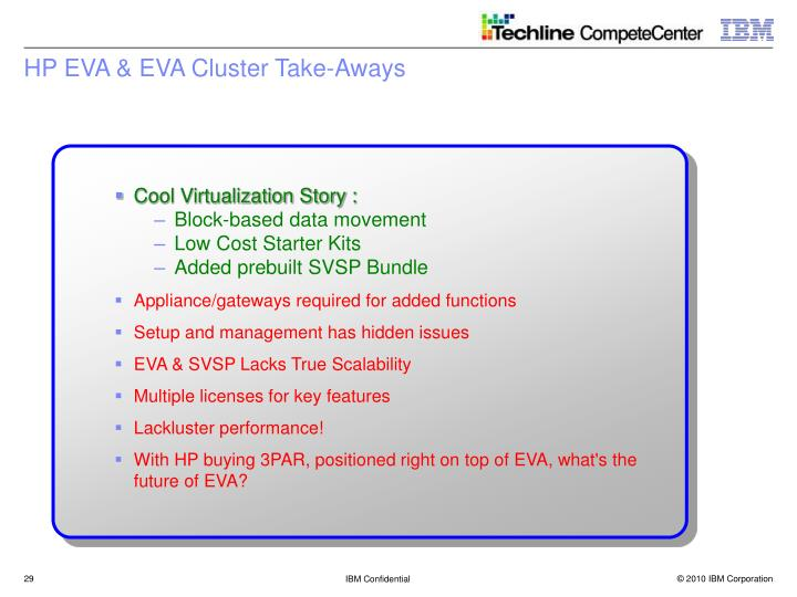 HP EVA & EVA Cluster Take-Aways