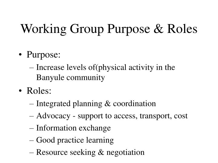 Working Group Purpose & Roles