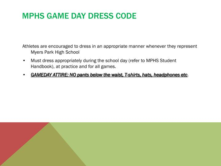 MPHS Game day dress code