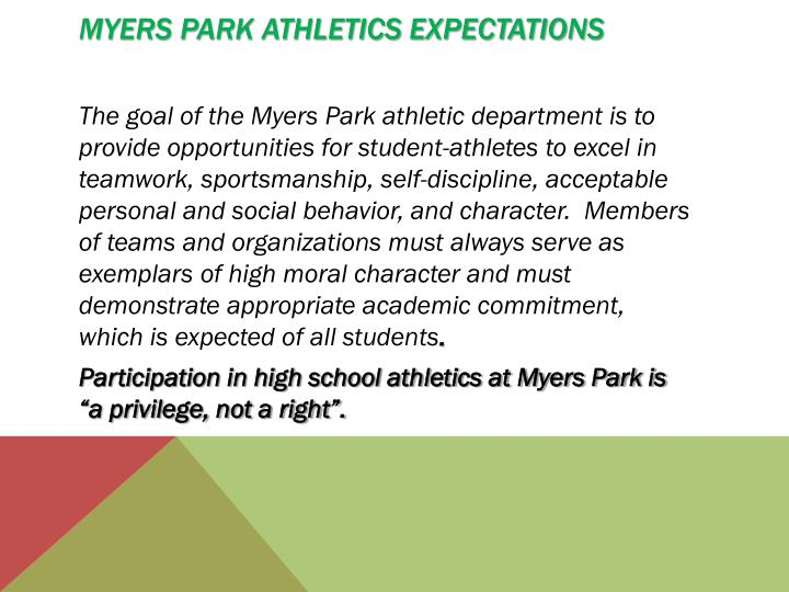 Myers Park Athletics Expectations