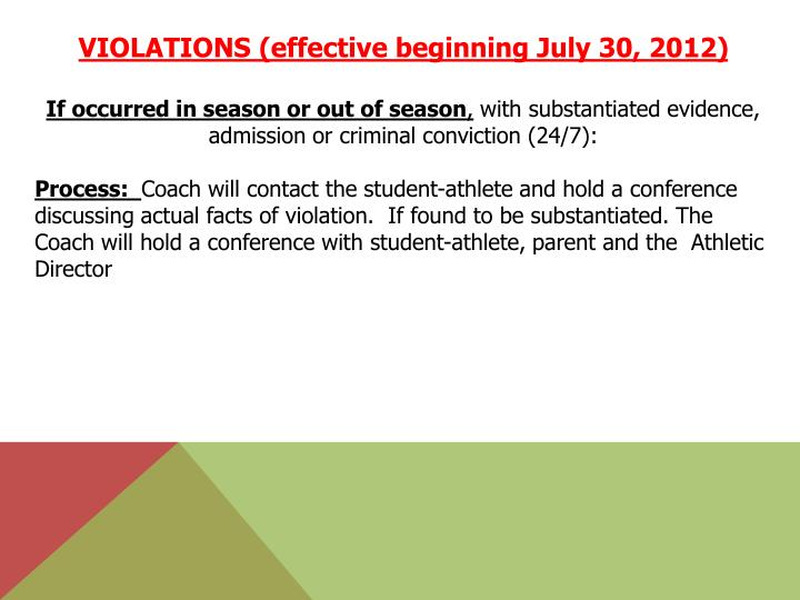 VIOLATIONS (effective beginning July 30, 2012)