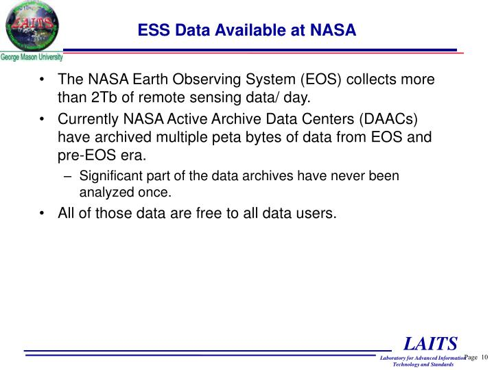 ESS Data Available at NASA