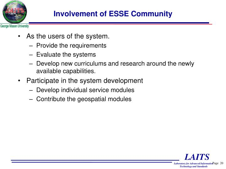 Involvement of ESSE Community