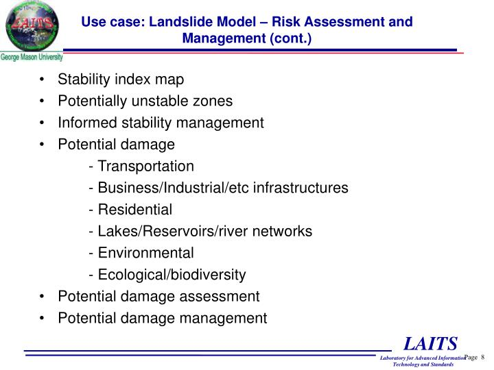 Use case: Landslide Model – Risk Assessment and Management (cont.)