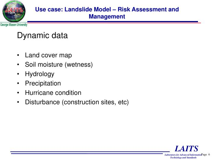 Use case: Landslide Model – Risk Assessment and Management