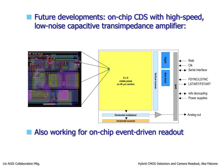 Future developments: on-chip CDS with high-speed, low-noise capacitive transimpedance amplifier: