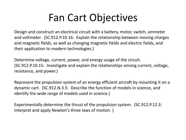 Fan Cart Objectives
