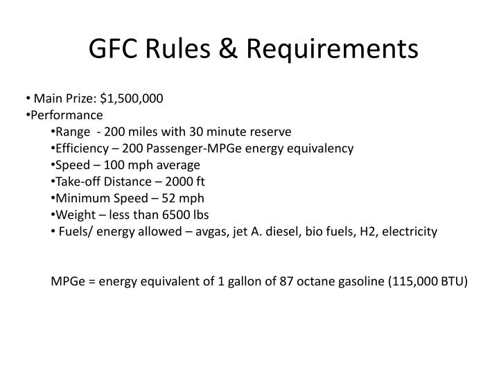 GFC Rules & Requirements